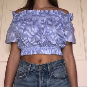 Pin stripe off the shoulder top